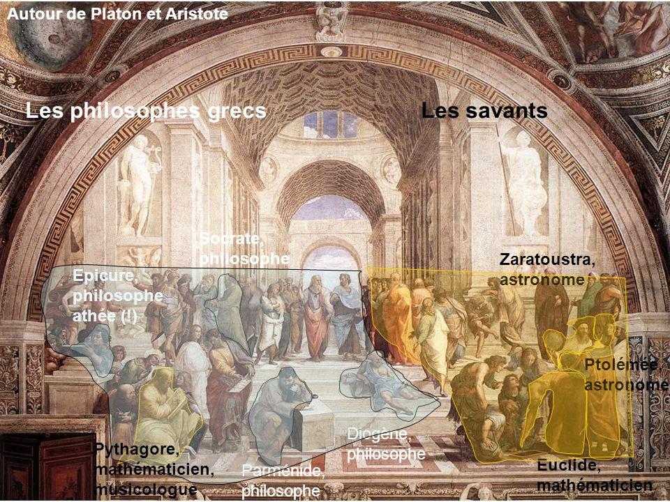 Autour de Platon et Aristote Socrate, philosophe Parménide, philosophe Diogène, philosophe Epicure, philosophe athée (!) Les philosophes grecs Euclide