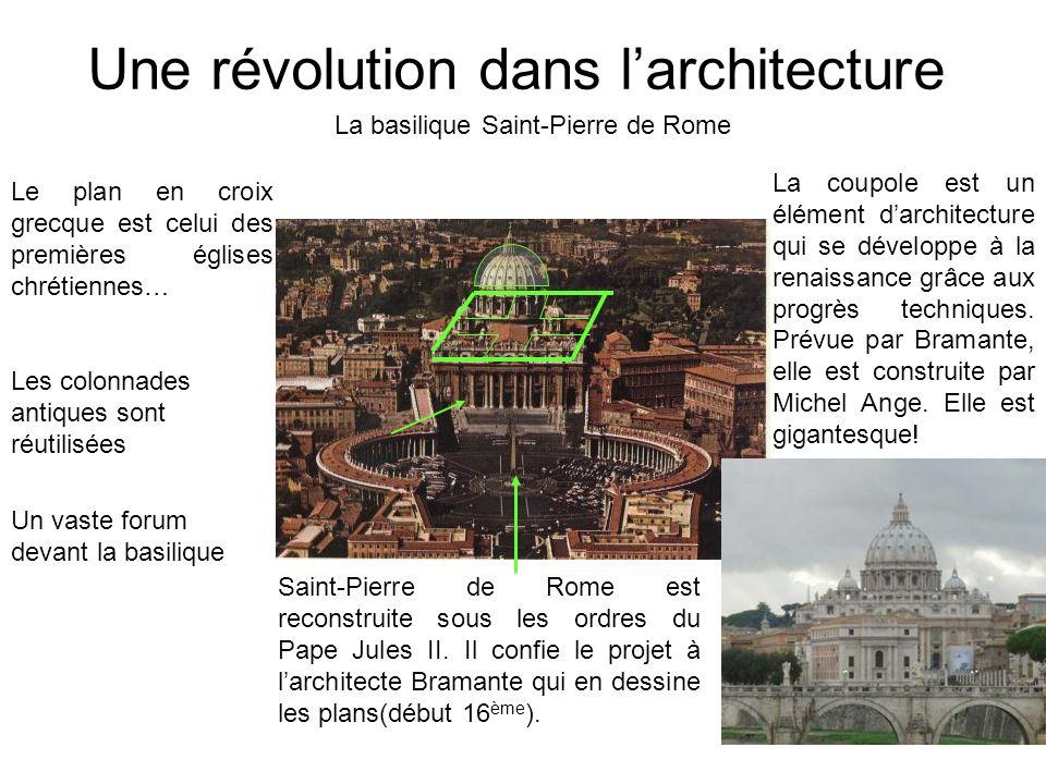 Une révolution dans larchitecture La basilique Saint-Pierre de Rome Saint-Pierre de Rome est reconstruite sous les ordres du Pape Jules II. Il confie