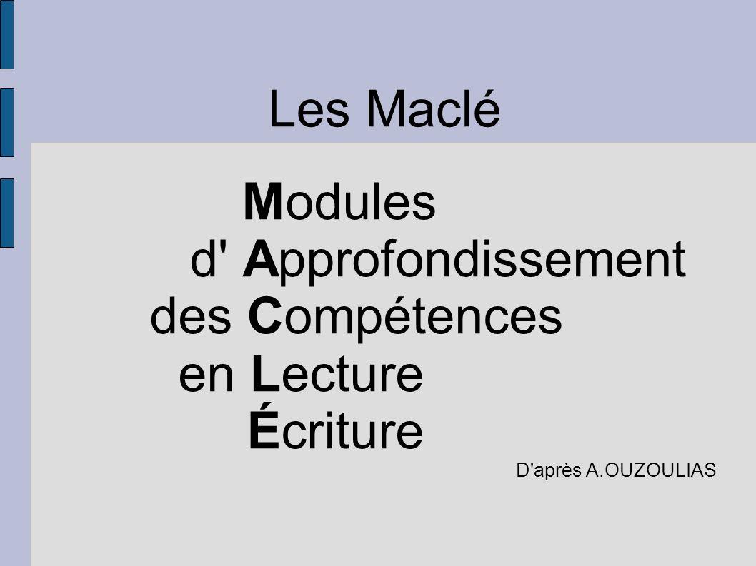 Proposition de stratégie Modules d' Approfondissement des Compétences en Lecture Écriture D'après A.OUZOULIAS Les Maclé