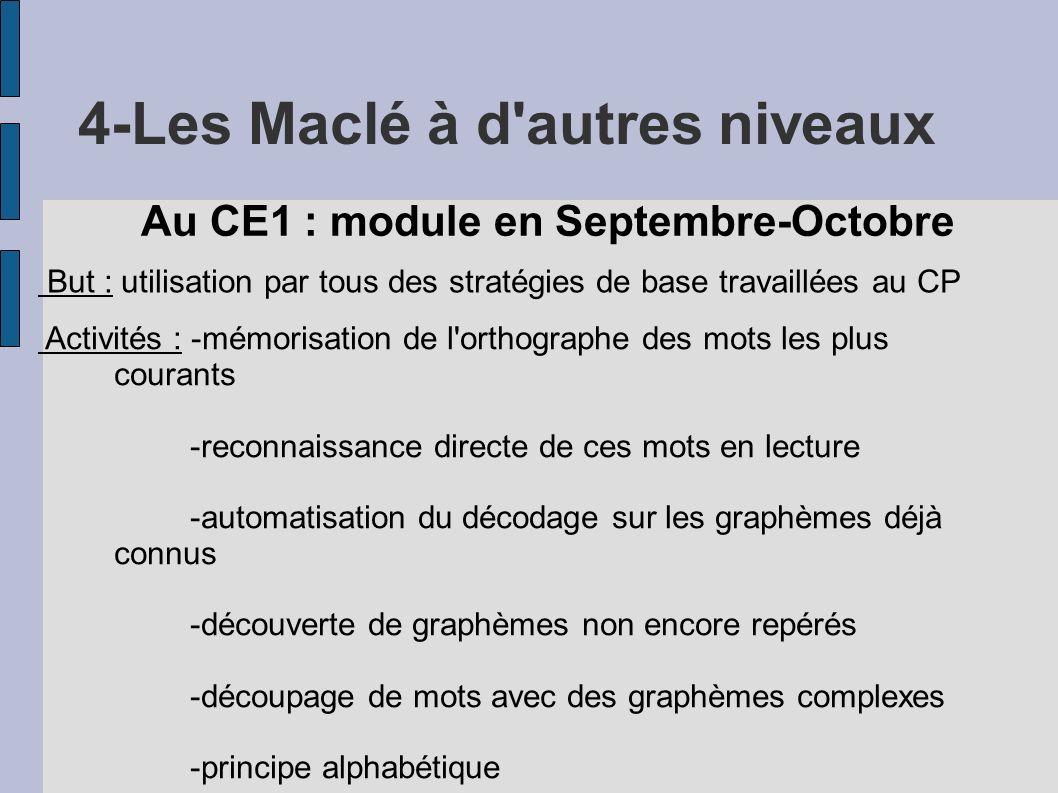 4-Les Maclé à d'autres niveaux Au CE1 : module en Septembre-Octobre But : utilisation par tous des stratégies de base travaillées au CP Activités : -m