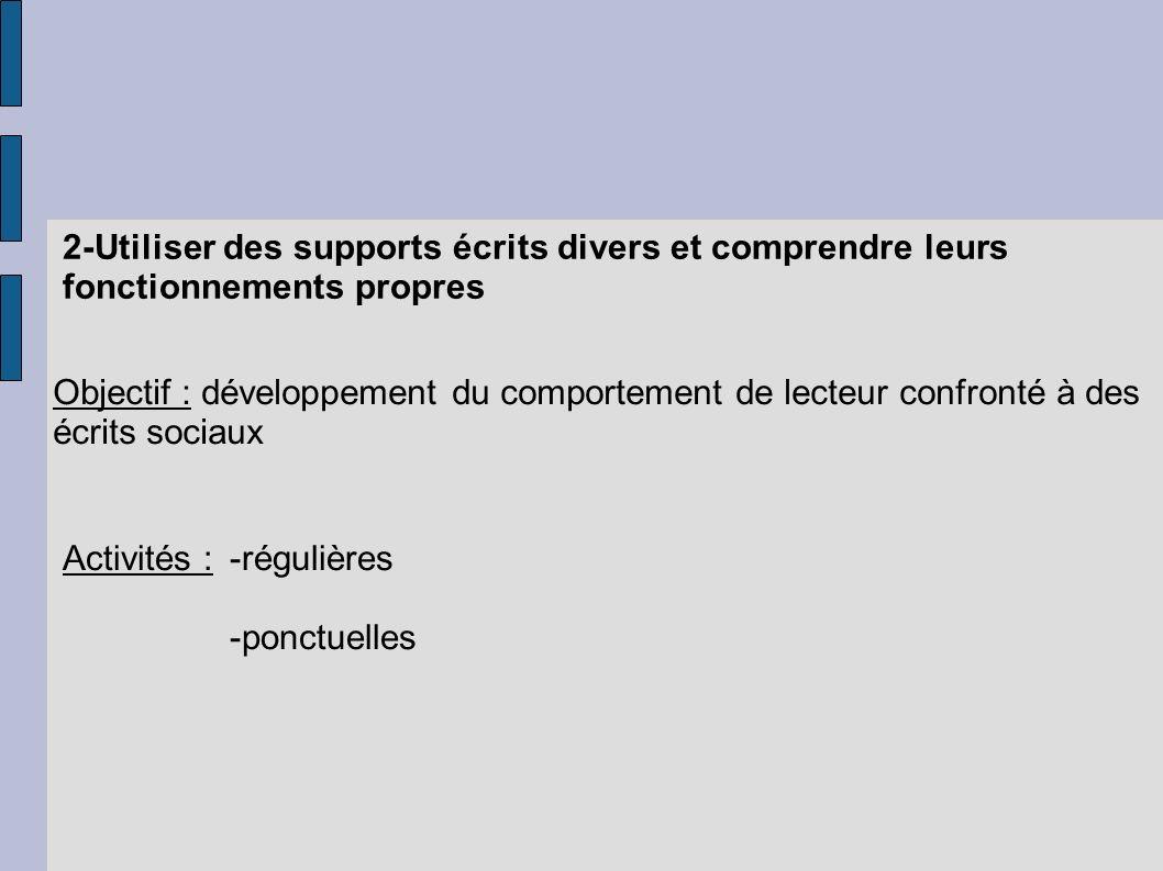 2-Utiliser des supports écrits divers et comprendre leurs fonctionnements propres Objectif : développement du comportement de lecteur confronté à des