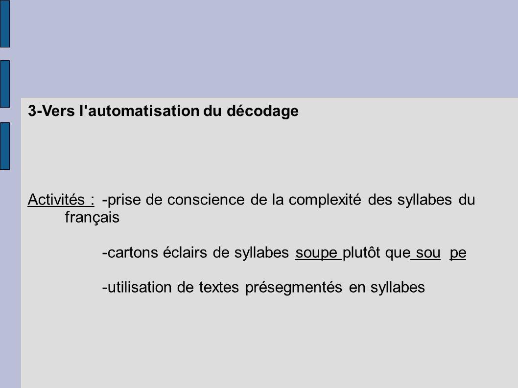 3-Vers l'automatisation du décodage Activités :-prise de conscience de la complexité des syllabes du français -cartons éclairs de syllabes soupe plutô