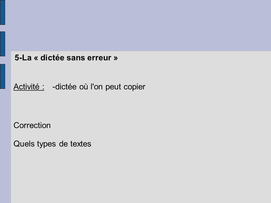 5-La « dictée sans erreur » Activité :-dictée où l'on peut copier Correction Quels types de textes