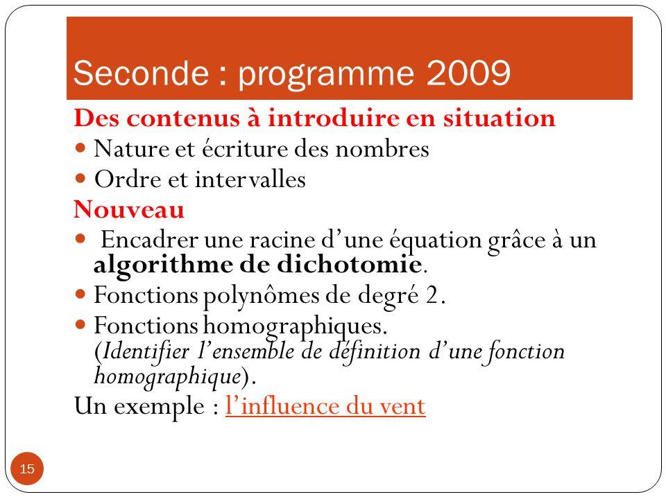 15 Seconde : programme 2009 Des contenus à introduire en situation Nature et écriture des nombres Ordre et intervalles Nouveau Encadrer une racine dun