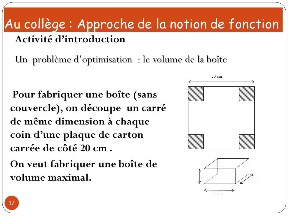 17 Pour fabriquer une boîte (sans couvercle), on découpe un carré de même dimension à chaque coin dune plaque de carton carrée de côté 20 cm. On veut