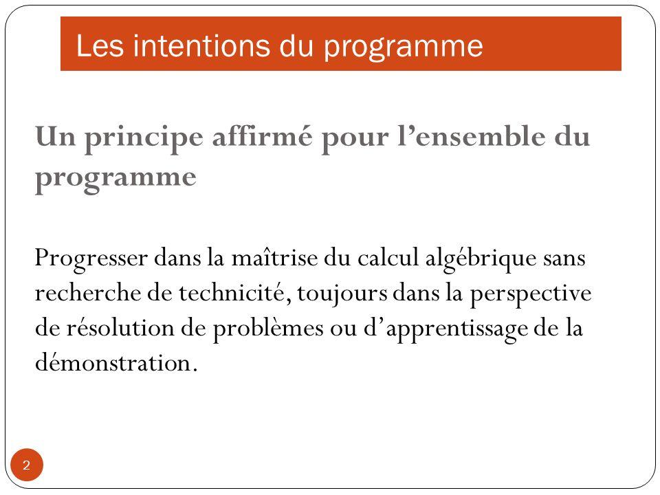 3 Motiver lintroduction doutils par la résolution de problèmes : Problèmes se ramenant à une équation du type f(x) = k Problèmes doptimisation ou du type f(x) > k (fonction donnée ou à associer au problème) Les intentions du programme