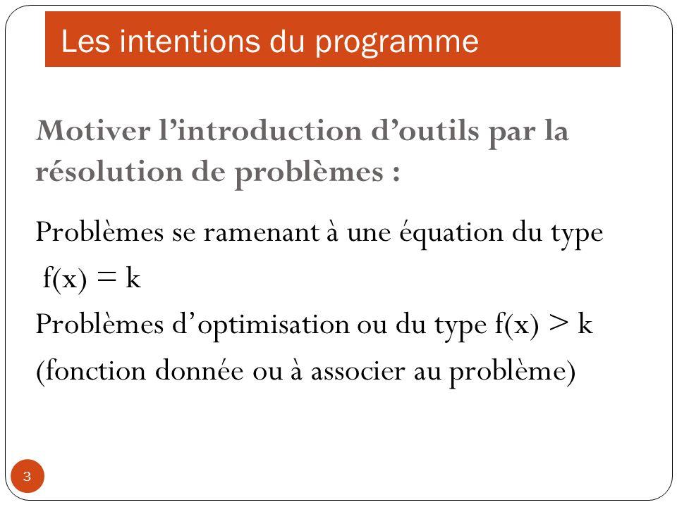 3 Motiver lintroduction doutils par la résolution de problèmes : Problèmes se ramenant à une équation du type f(x) = k Problèmes doptimisation ou du t