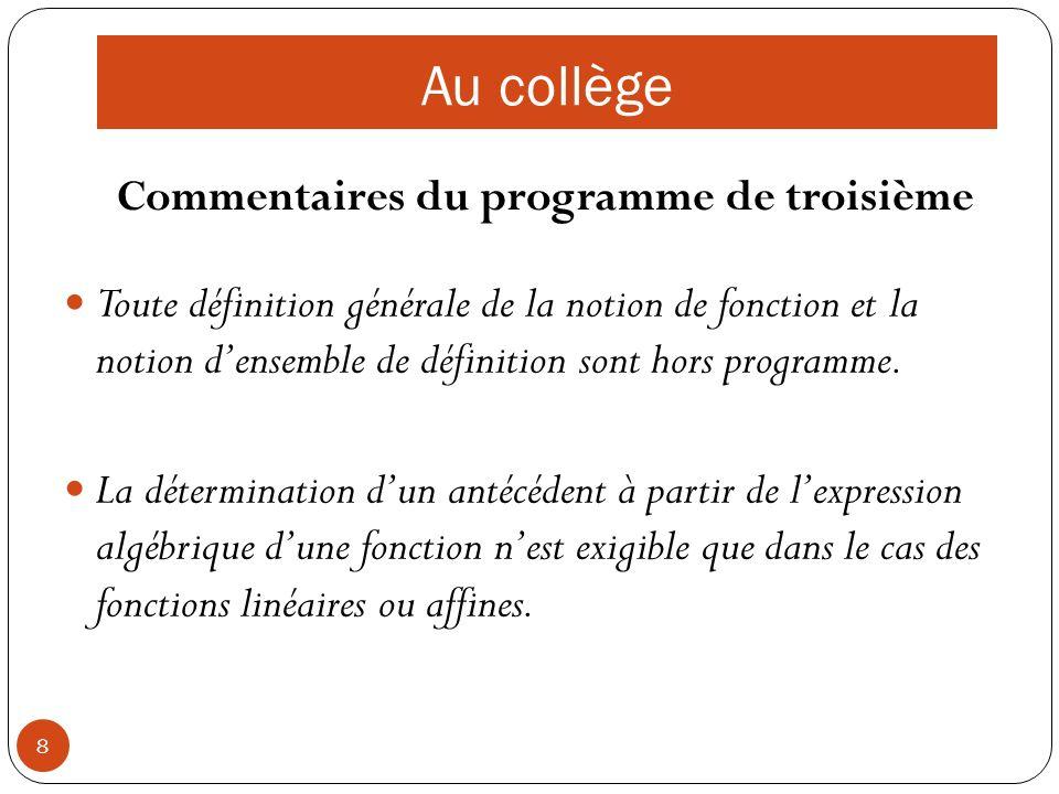 8 Commentaires du programme de troisième Toute définition générale de la notion de fonction et la notion densemble de définition sont hors programme.