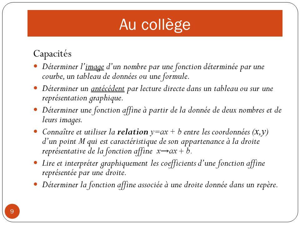 10 Collège : quelques évaluations de ce nouveau programme Le DNB 2009 Sujet métropoleSujet métropole Exercice 3 et problème