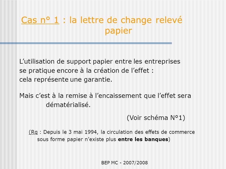 BEP MC - 2007/2008 (Rq : Depuis le 3 mai 1994, la circulation des effets de commerce sous forme papier nexiste plus entre les banques) Cas n° 1 : la l