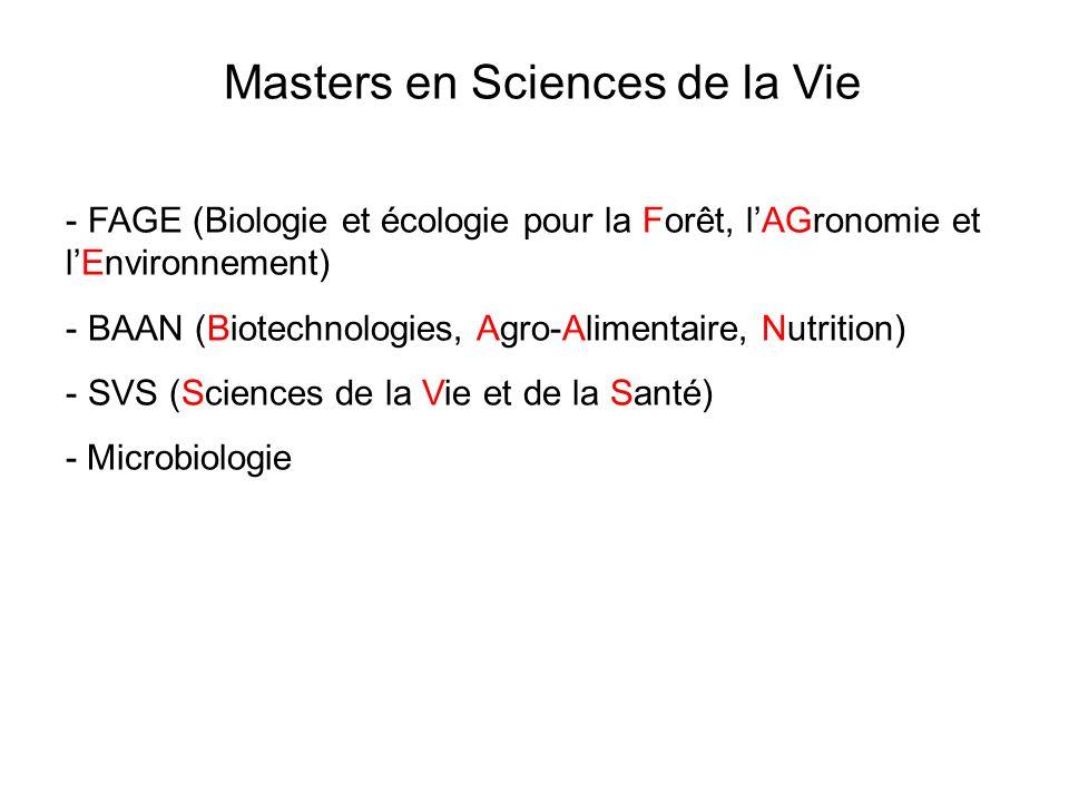 Masters en Sciences de la Vie - FAGE (Biologie et écologie pour la Forêt, lAGronomie et lEnvironnement) - BAAN (Biotechnologies, Agro-Alimentaire, Nutrition) - SVS (Sciences de la Vie et de la Santé) - Microbiologie