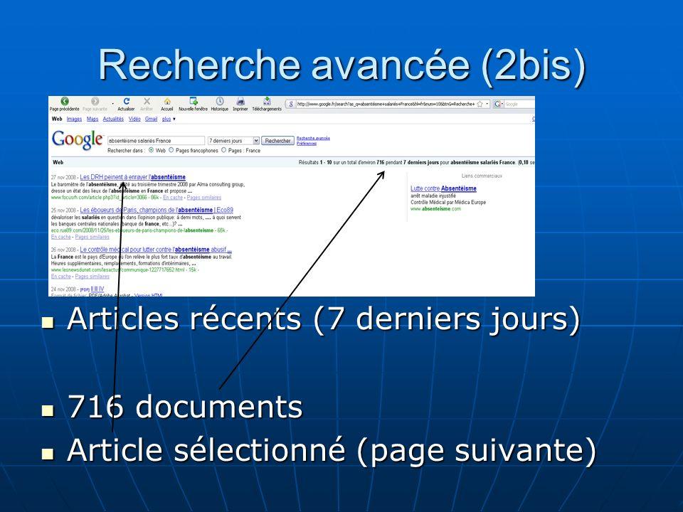 Recherche avancée (2bis) Articles récents (7 derniers jours) Articles récents (7 derniers jours) 716 documents 716 documents Article sélectionné (page