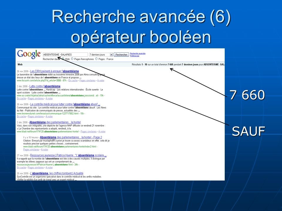 Recherche avancée (6) opérateur booléen 7 660 SAUF