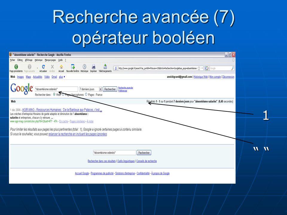 Recherche avancée (7) opérateur booléen 1