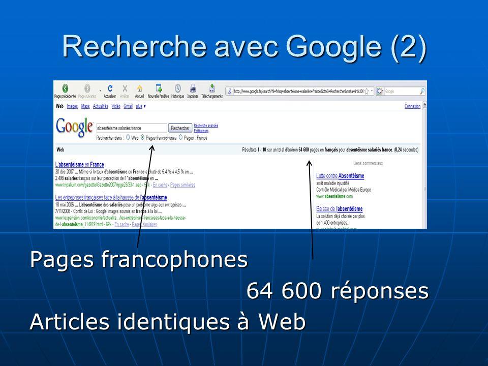 Recherche avec Google (2) Pages francophones 64 600 réponses 64 600 réponses Articles identiques à Web