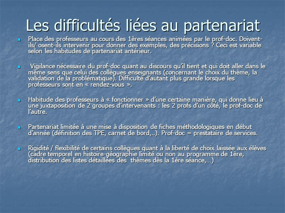 Les difficultés liées au partenariat Place des professeurs au cours des 1ères séances animées par le prof-doc.