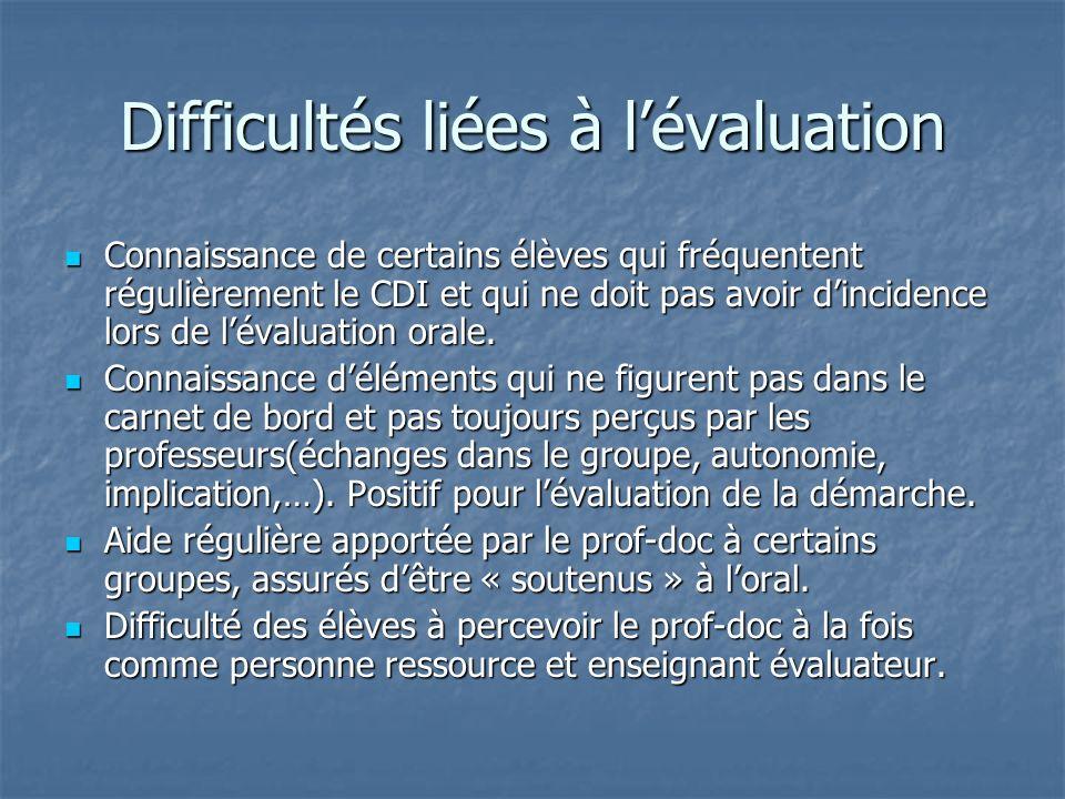 Difficultés liées à lévaluation Connaissance de certains élèves qui fréquentent régulièrement le CDI et qui ne doit pas avoir dincidence lors de lévaluation orale.