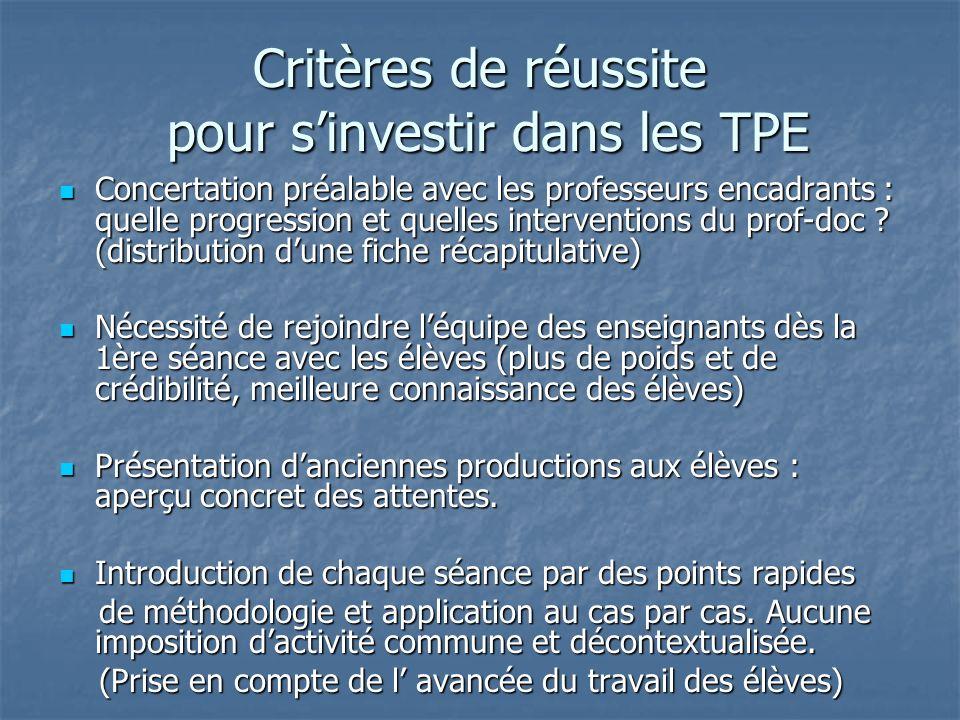 Critères de réussite pour sinvestir dans les TPE Concertation préalable avec les professeurs encadrants : quelle progression et quelles interventions du prof-doc .