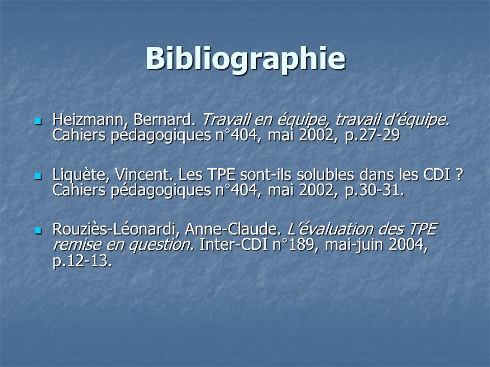 Bibliographie Heizmann, Bernard. Travail en équipe, travail déquipe. Cahiers pédagogiques n°404, mai 2002, p.27-29 Heizmann, Bernard. Travail en équip