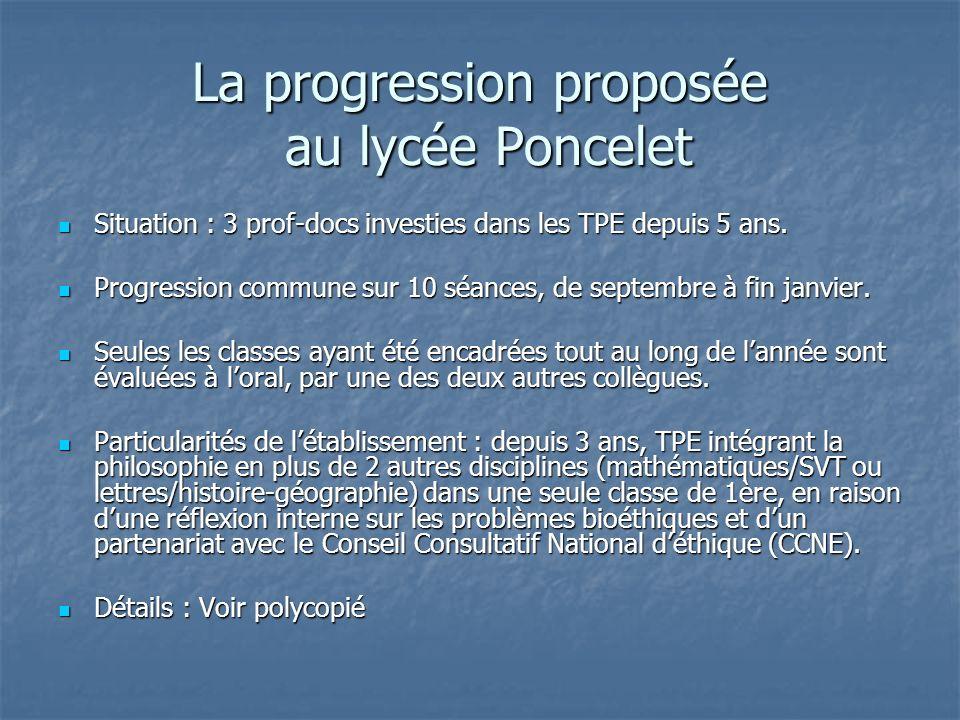 La progression proposée au lycée Poncelet Situation : 3 prof-docs investies dans les TPE depuis 5 ans. Situation : 3 prof-docs investies dans les TPE