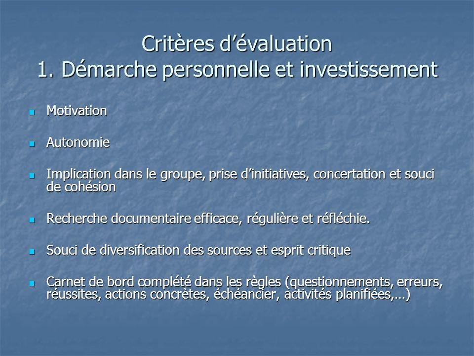 Critères dévaluation 1. Démarche personnelle et investissement Motivation Motivation Autonomie Autonomie Implication dans le groupe, prise dinitiative