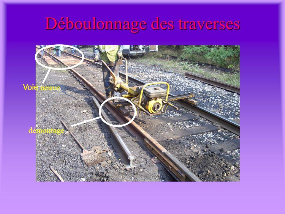 Vue de la voie ferrée à rénover ANCIENS RAILS BALLAST TRAVERSES BOULONS