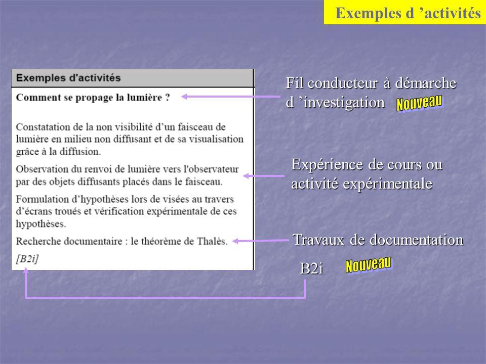 Exemples d activités Fil conducteur à démarche d investigation B2i Expérience de cours ou activité expérimentale Travaux de documentation