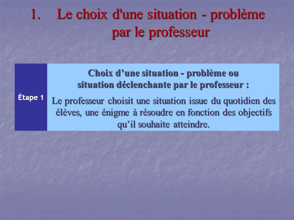 1.Le choix d'une situation - problème par le professeur Étape 1 Choix dune situation - problème ou situation déclenchante par le professeur : Le profe