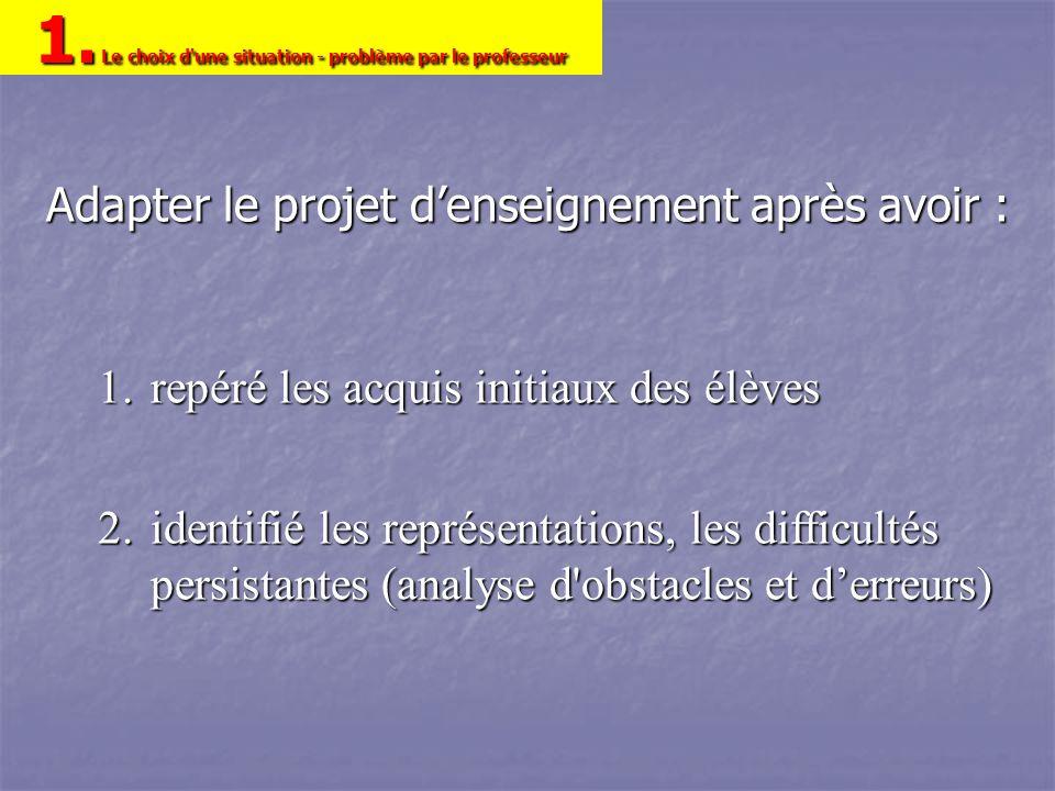 Adapter le projet denseignement après avoir : 1.repéré les acquis initiaux des élèves 2.identifié les représentations, les difficultés persistantes (a