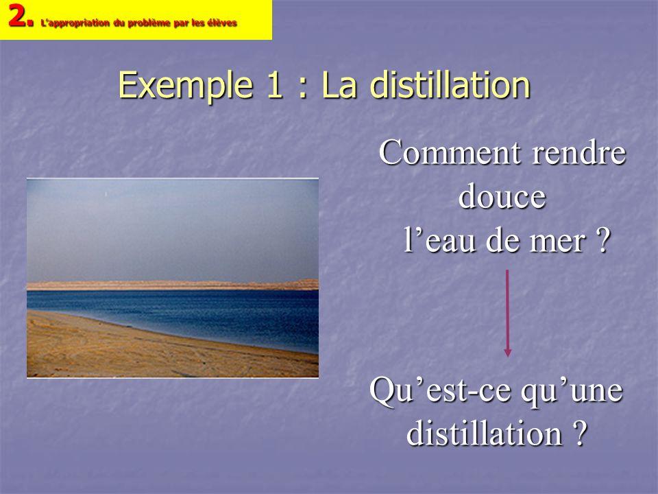 Exemple 1 : La distillation Quest-ce quune distillation ? 2. Lappropriation du problème par les élèves Comment rendre douce leau de mer ?