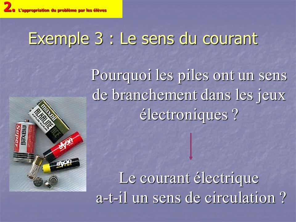 Exemple 3 : Le sens du courant Le courant électrique a-t-il un sens de circulation ? 2. Lappropriation du problème par les élèves Pourquoi les piles o