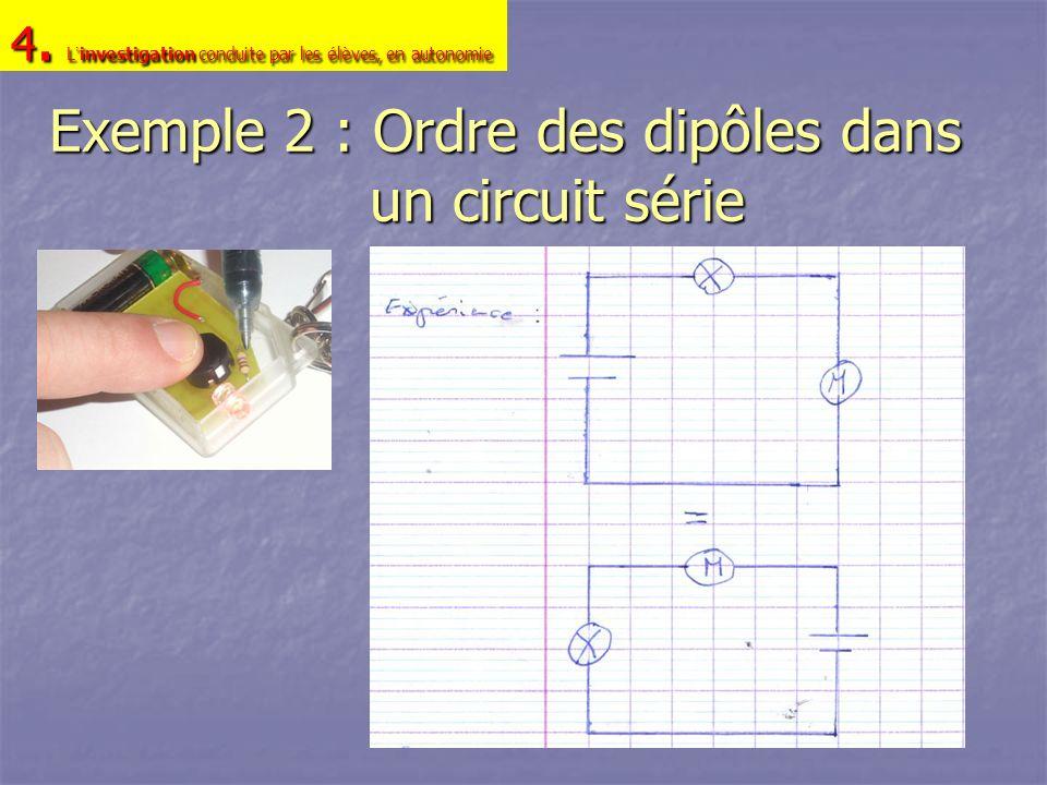 Exemple 2 : Ordre des dipôles dans un circuit série 4. L investigation conduite par les é l è ves, en autonomie