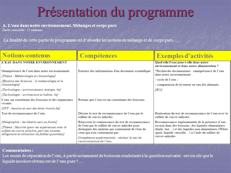 Notions-contenus Exemples dactivités Compétences Présentation du programme A. Leau dans notre environnement. Mélanges et corps purs Durée conseillée :