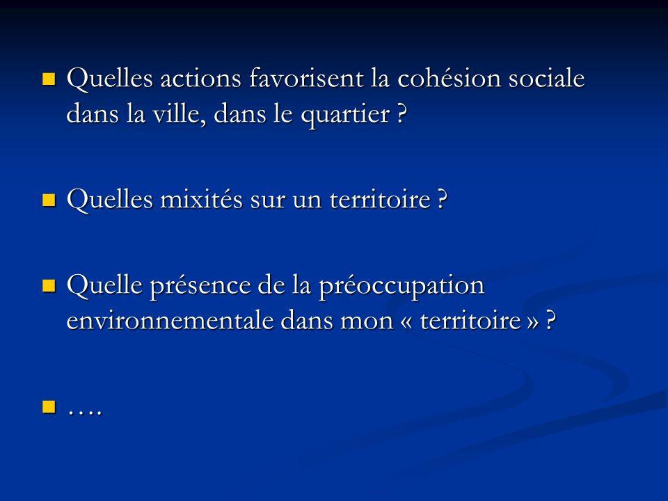 Quelles actions favorisent la cohésion sociale dans la ville, dans le quartier ? Quelles actions favorisent la cohésion sociale dans la ville, dans le