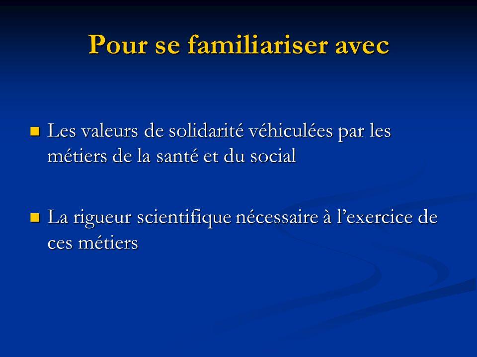 Pour se familiariser avec Les valeurs de solidarité véhiculées par les métiers de la santé et du social Les valeurs de solidarité véhiculées par les m