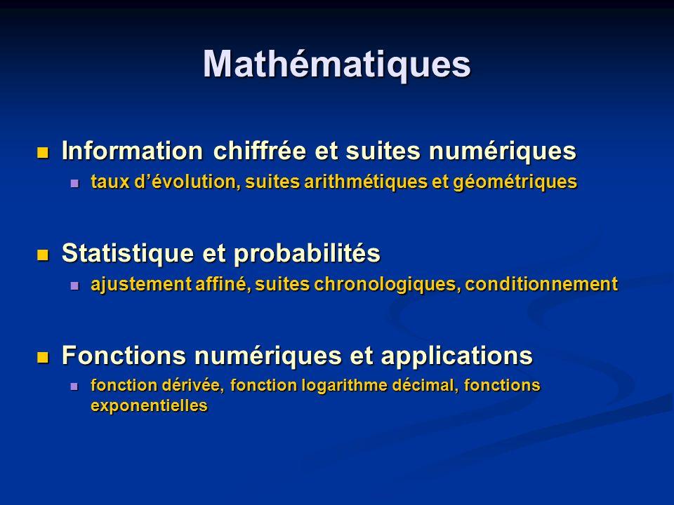 Mathématiques Information chiffrée et suites numériques Information chiffrée et suites numériques taux dévolution, suites arithmétiques et géométrique