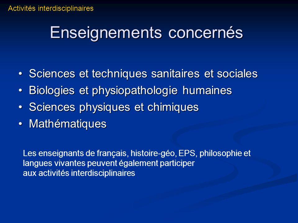 Enseignements concernés Enseignements concernés Sciences et techniques sanitaires et sociales Sciences et techniques sanitaires et sociales Biologies