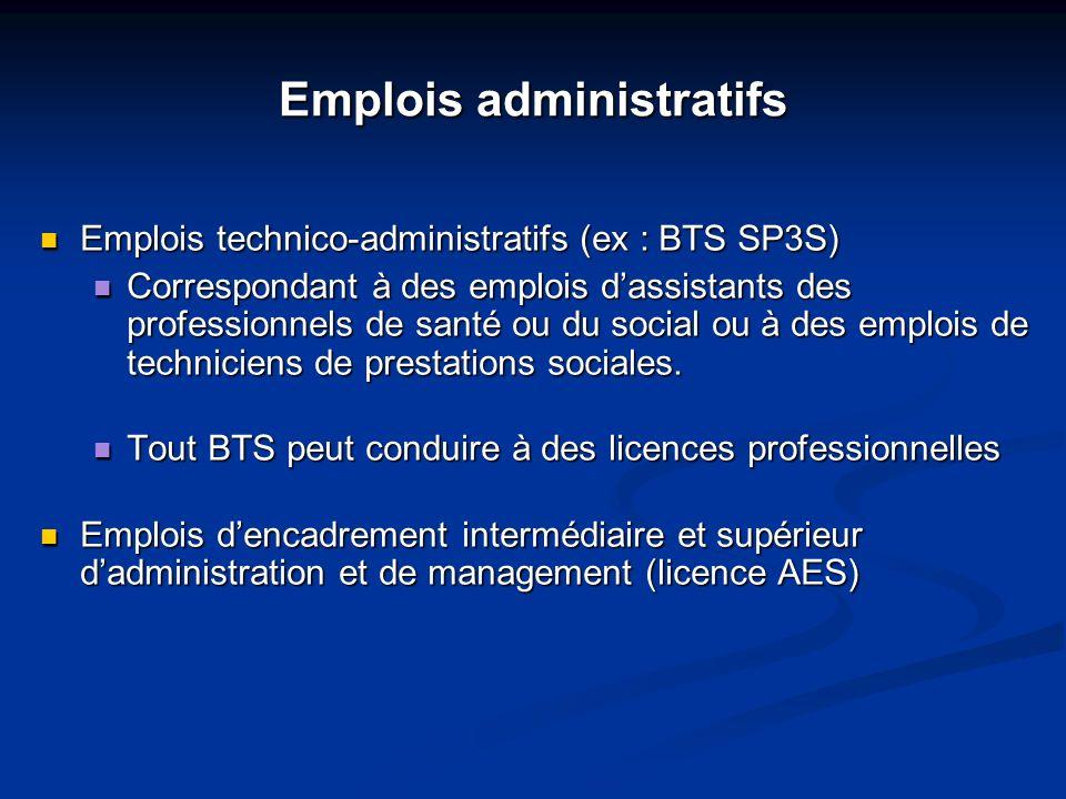 Emplois administratifs Emplois technico-administratifs (ex : BTS SP3S) Emplois technico-administratifs (ex : BTS SP3S) Correspondant à des emplois das
