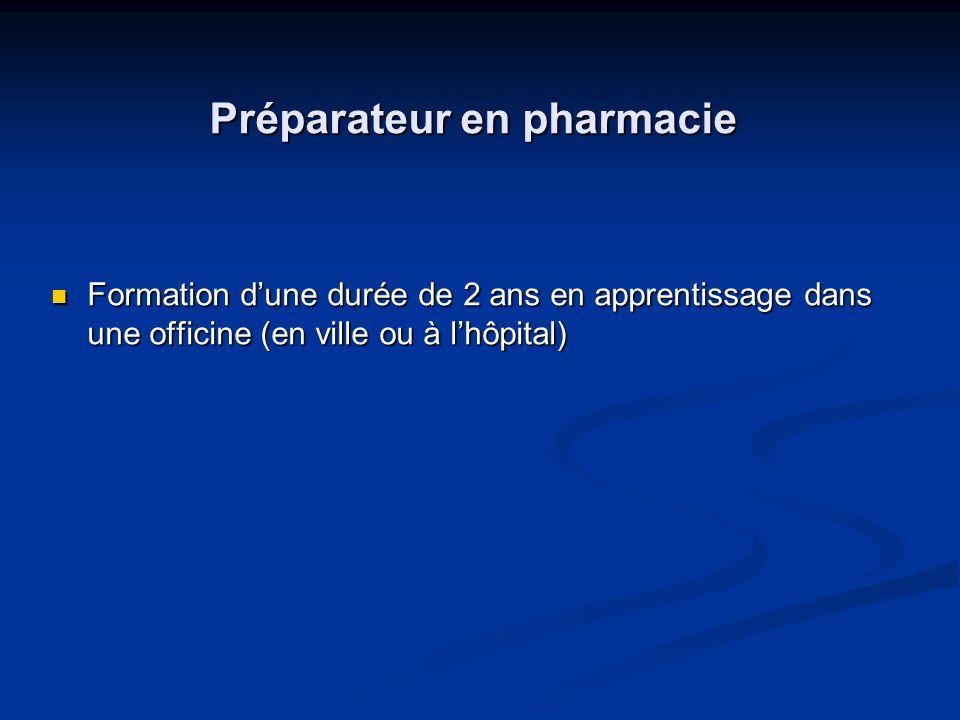 Préparateur en pharmacie Formation dune durée de 2 ans en apprentissage dans une officine (en ville ou à lhôpital) Formation dune durée de 2 ans en ap