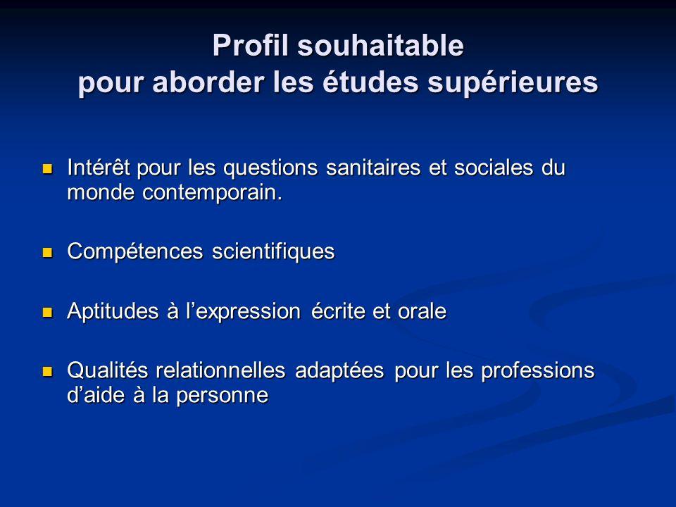 Profil souhaitable pour aborder les études supérieures Intérêt pour les questions sanitaires et sociales du monde contemporain. Intérêt pour les quest