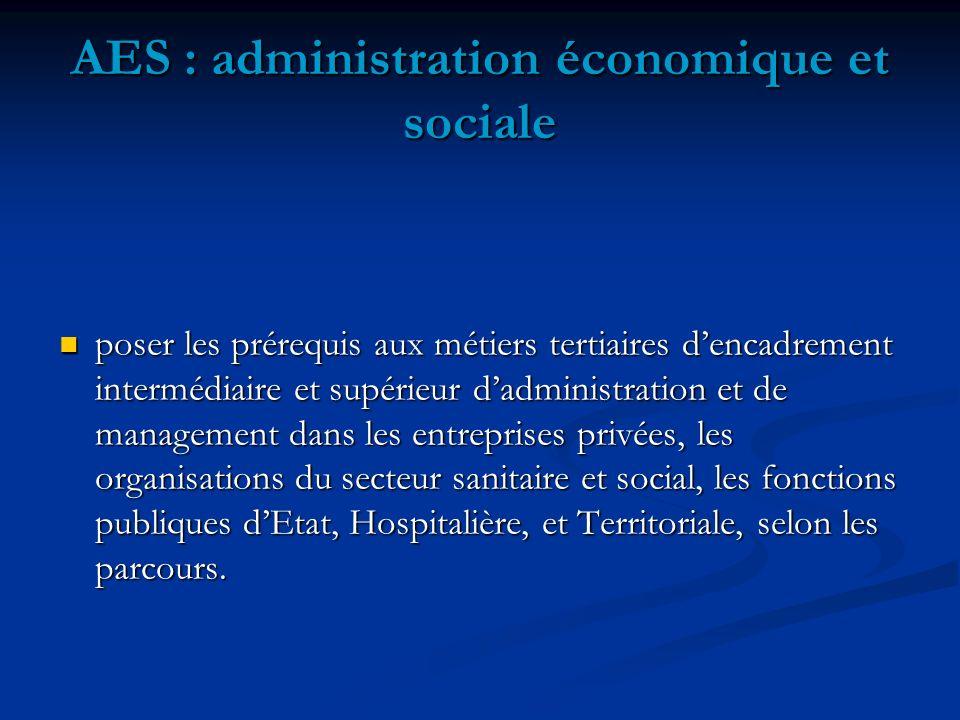 AES : administration économique et sociale poser les prérequis aux métiers tertiaires dencadrement intermédiaire et supérieur dadministration et de ma