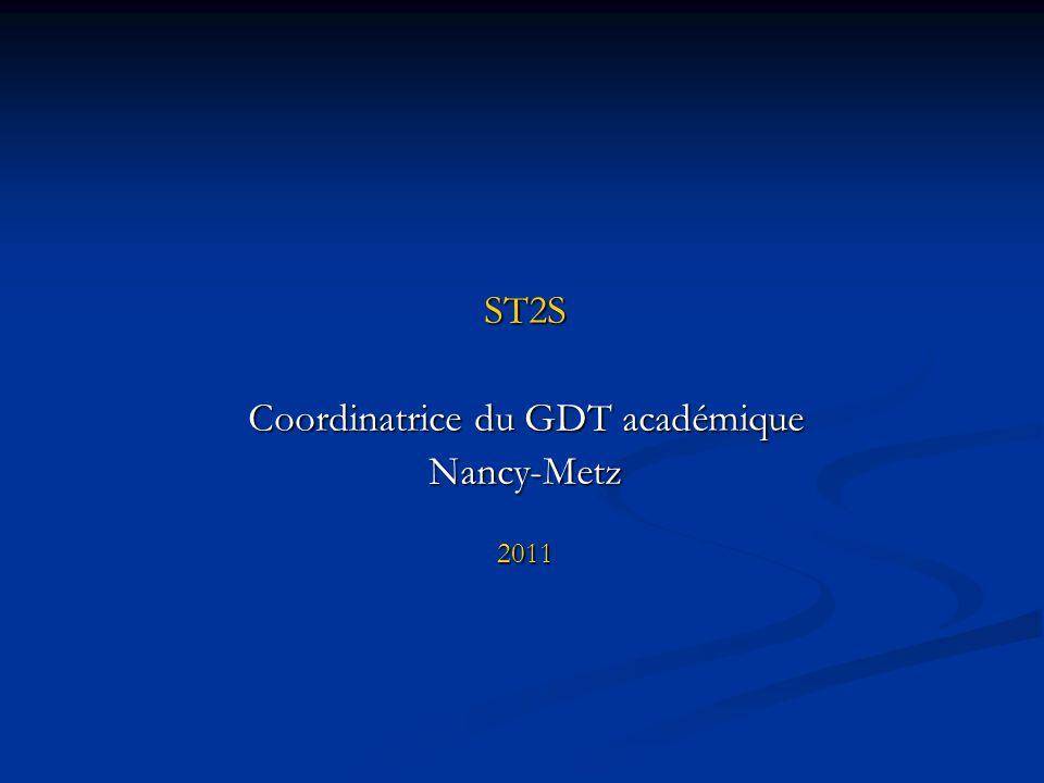 ST2S Coordinatrice du GDT académique Nancy-Metz2011