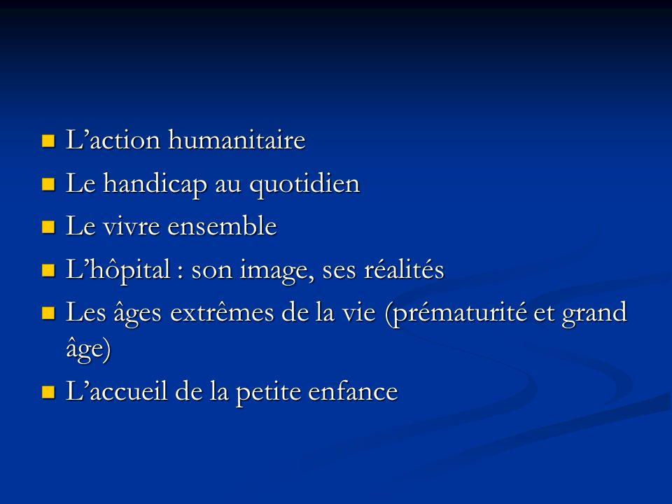 Laction humanitaire Laction humanitaire Le handicap au quotidien Le handicap au quotidien Le vivre ensemble Le vivre ensemble Lhôpital : son image, se