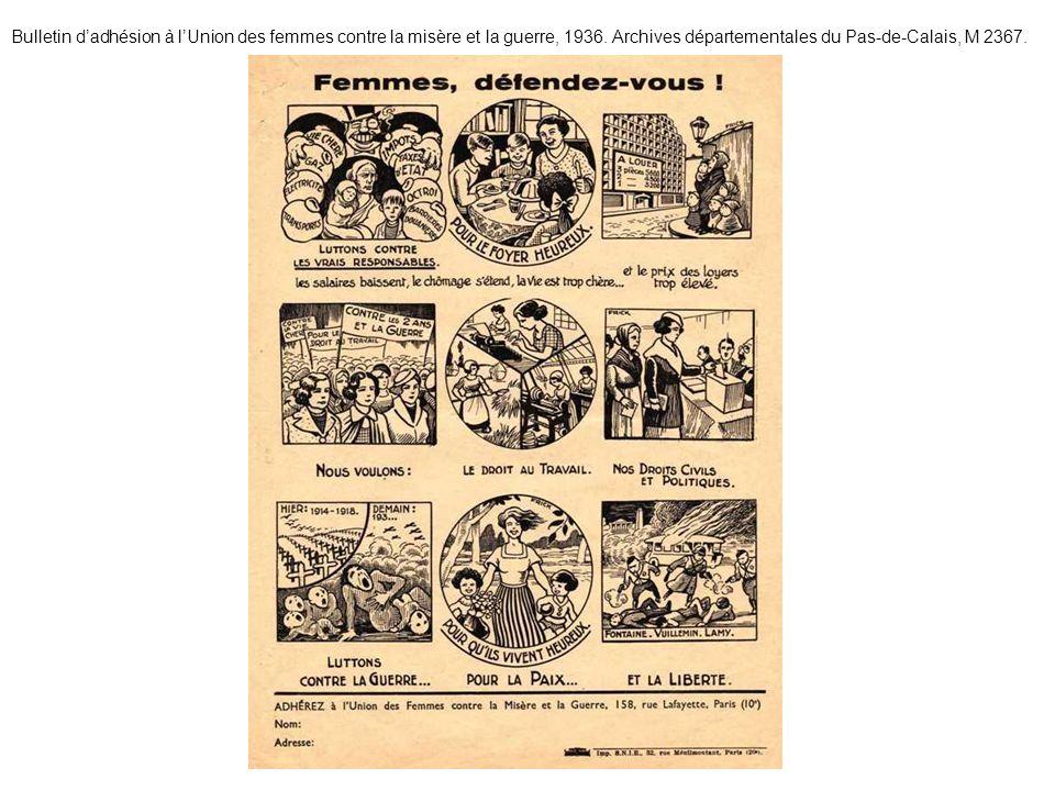 Bulletin dadhésion à lUnion des femmes contre la misère et la guerre, 1936. Archives départementales du Pas-de-Calais, M 2367.