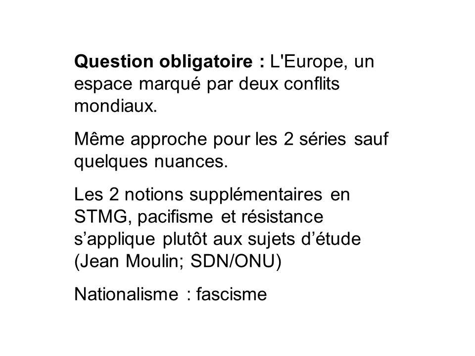 Question obligatoire : L'Europe, un espace marqué par deux conflits mondiaux. Même approche pour les 2 séries sauf quelques nuances. Les 2 notions sup