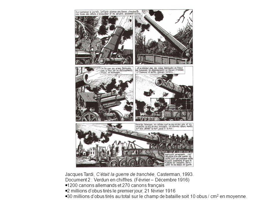 Document 1 : Des guerres industrielles. Jacques Tardi, Cétait la guerre de tranchée, Casterman, 1993. Document 2 : Verdun en chiffres. (Février – Déce