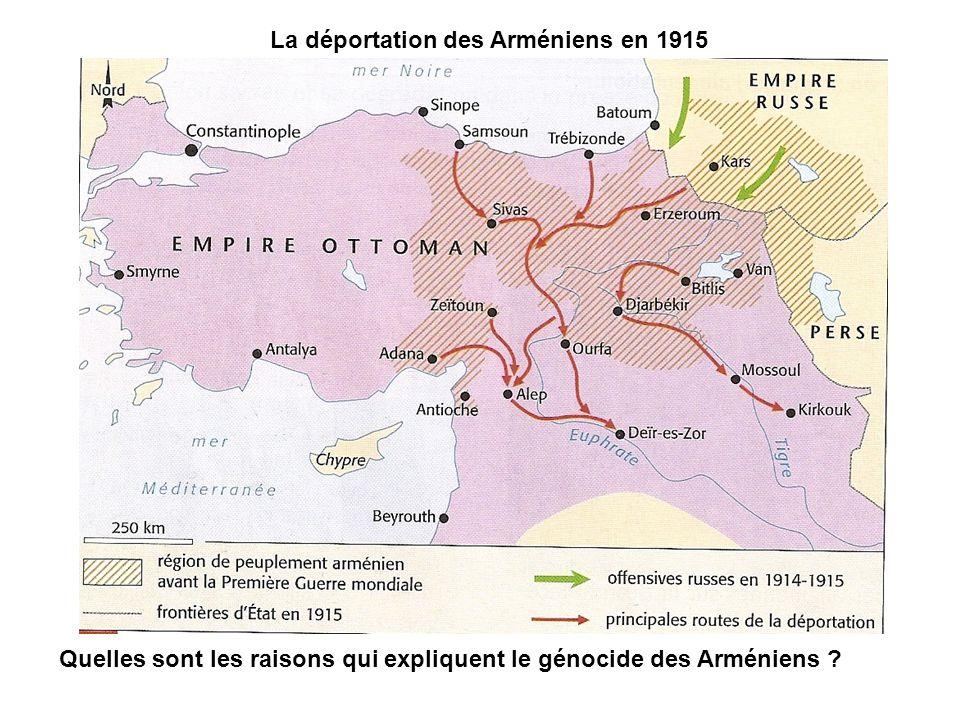 La déportation des Arméniens en 1915 Quelles sont les raisons qui expliquent le génocide des Arméniens ?