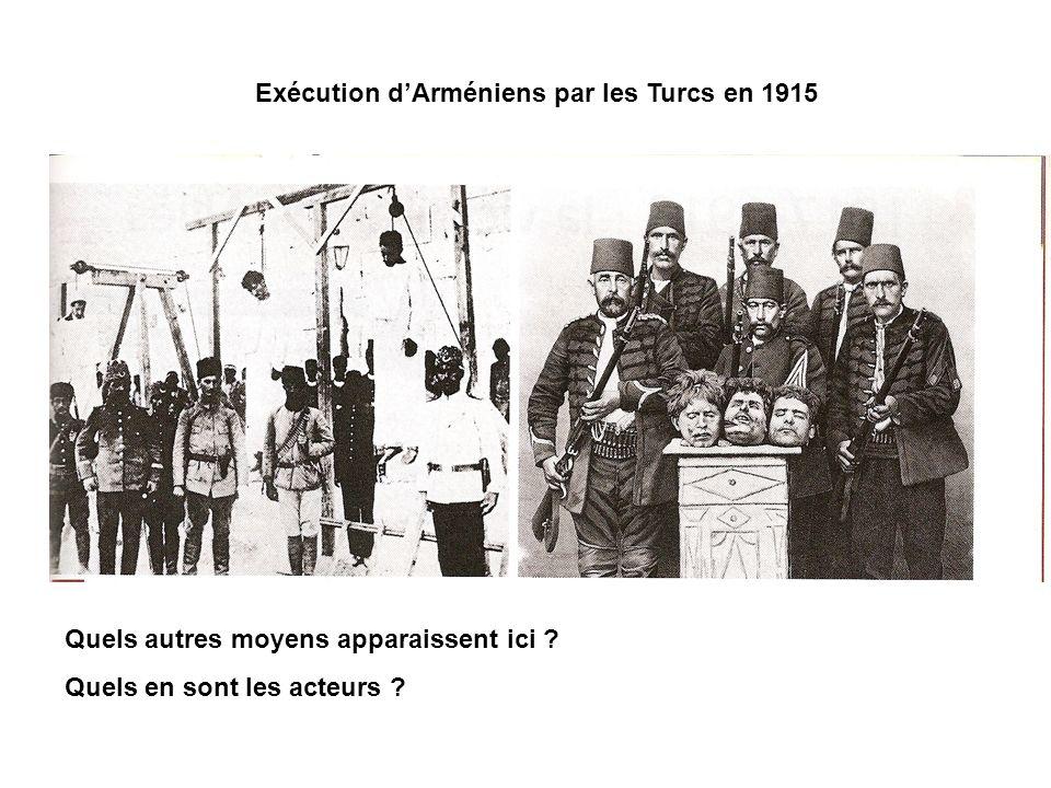 Exécution dArméniens par les Turcs en 1915 Quels autres moyens apparaissent ici ? Quels en sont les acteurs ?