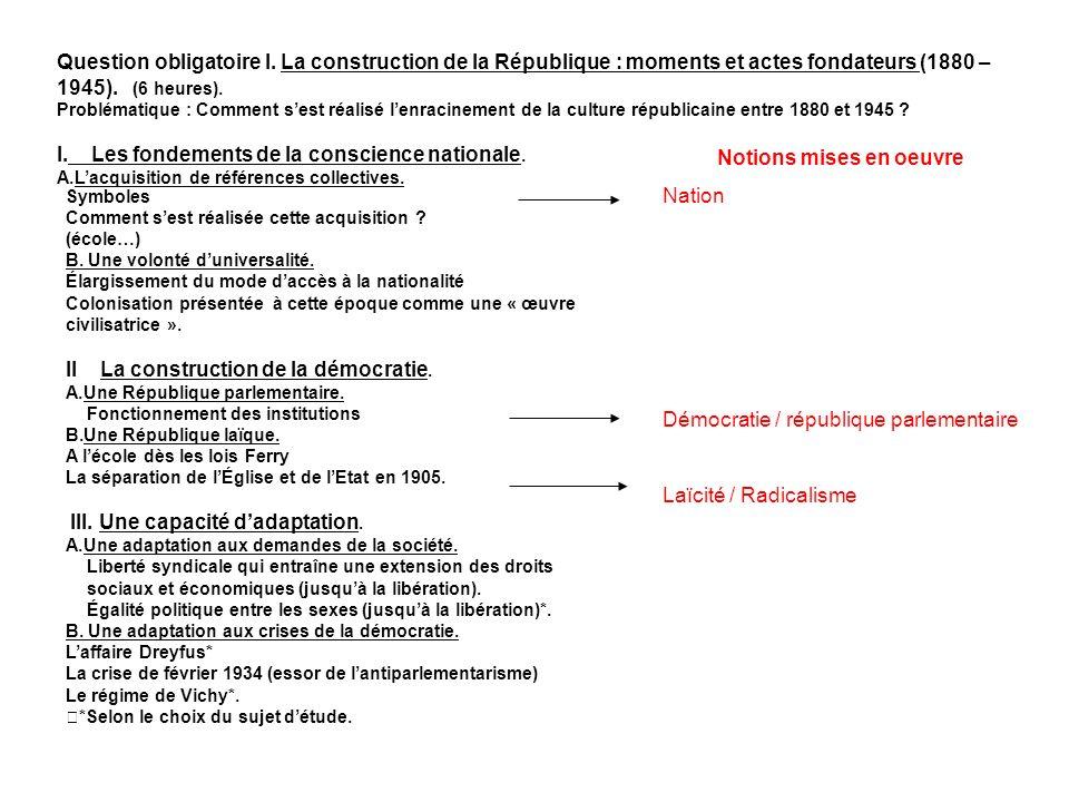Question obligatoire I. La construction de la République : moments et actes fondateurs (1880 – 1945). (6 heures). Problématique : Comment sest réalisé