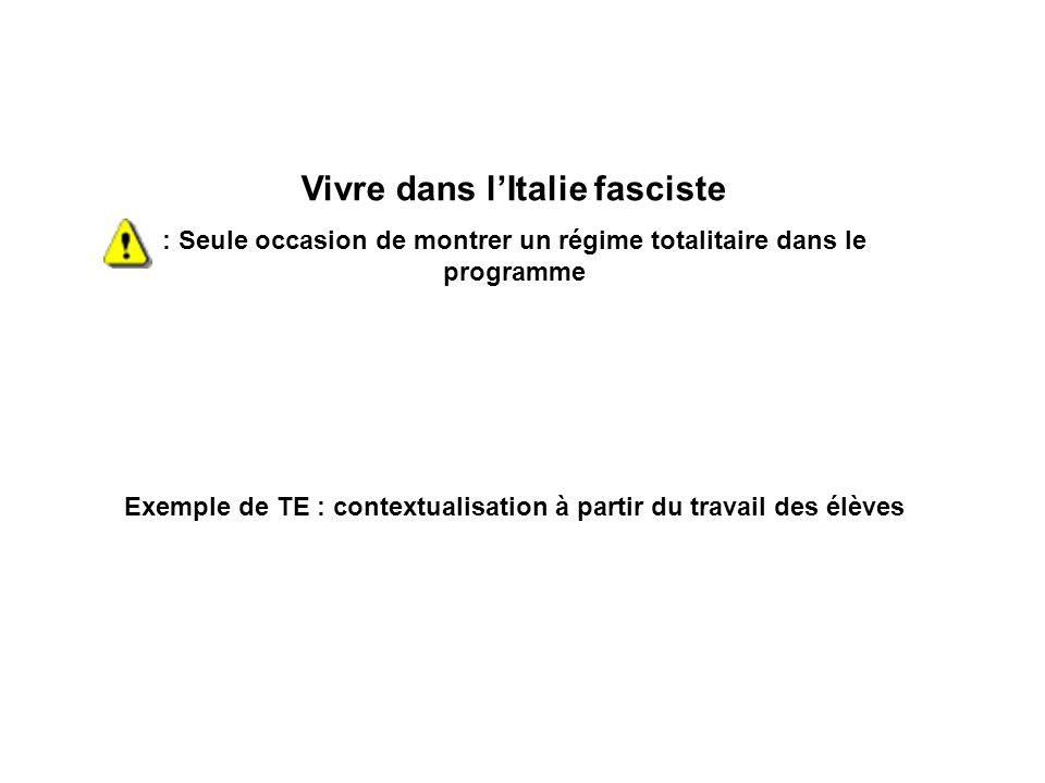 Vivre dans lItalie fasciste : Seule occasion de montrer un régime totalitaire dans le programme Exemple de TE : contextualisation à partir du travail
